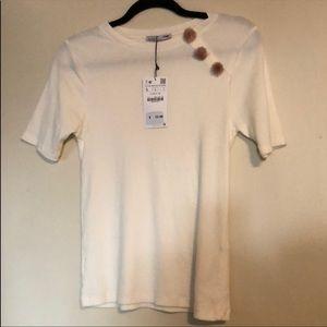 Zara Pom Pom tee shirt
